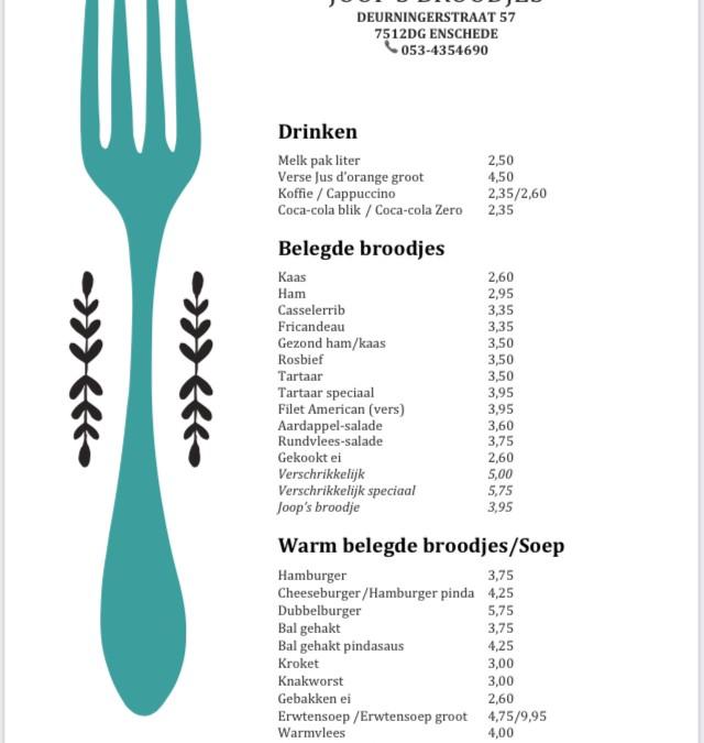 Kleine menu kaart